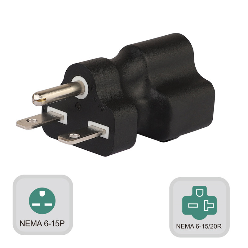 Plugrand (PA-0203) 250V Nema 6-15P Male to Nema 6-15/20R Comb Female AC Adapter, 15Amp 250V to 20Amp 250V AC Power Adapter, Nema 6-15P/6-20R 250V Power Adapter