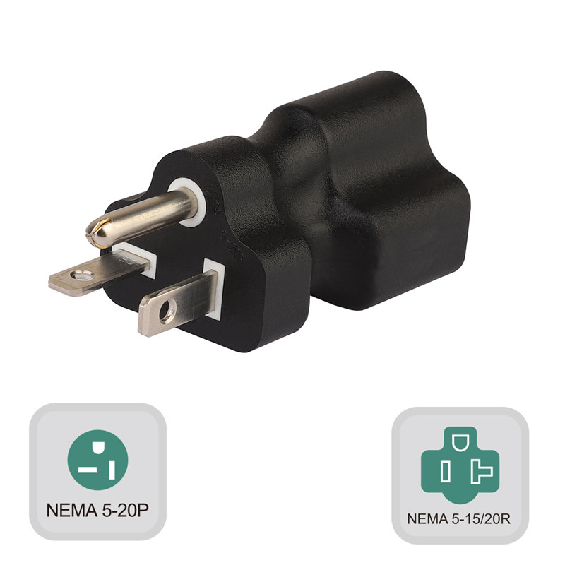 Plugrand (PA-0202) Nema 5-20P Male to Nema 5-15/20R Female AC Adapter,20 Amp T-Blade Male Plug to 15A/20A Household Female AC Power Adapter