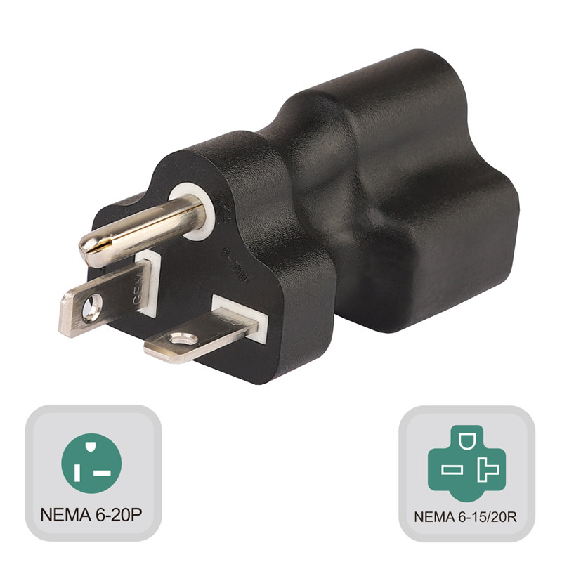 Plugrand (PA-0204) 250V Nema 6-20P Male to Nema 6-15/20R Comb Female AC Adapter, 20Amp 250V to 15Amp 250V AC Power Adapter, Nema 6-20P/6-15R 250V Power Adapter